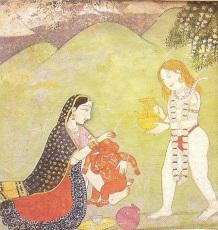 Shiva gibt Wasser über den Baby Ganesha, während Parvati ihn liebevoll in der Hand hält.